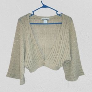 Sweater Project Open Weave Shrug Gold Size Small
